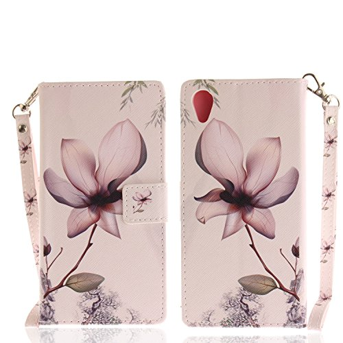 MoreChioce kompatibel mit Sony Xperia XA1 Plus Hülle,kompatibel mit Sony Xperia XA1 Plus Lederhülle, Bunt Leder Silikon Backcover Magnolie Blume Muster Handytasche Brieftasche Magnetische,EINWEG