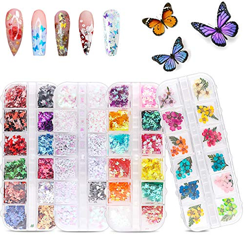 48 Colors Dried Flowers Nail Art Butterfly Glitter Flake 3D Holographic, Tufusiur Dry Flower Nails Sequins Acrylic Supplies Face Body Gifts for Decoration Accessories & DIY Crafting