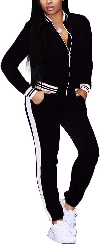 ALING Women's Soft Velour Sweatshirt + Long Jogger Pants Tracksuit Sport Sweat Suit Set