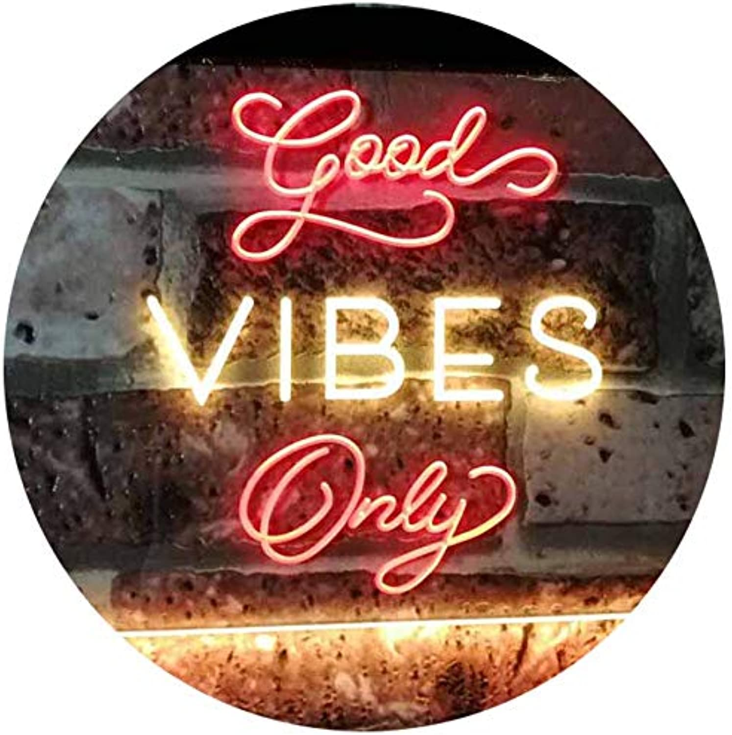 ADVPRO Good Vibes Only Home Bar Disco Room Display Dual Farbe LED Barlicht Neonlicht Lichtwerbung Neon Sign rot & Gelb 400mm x 300mm st6s43-i3076-ry