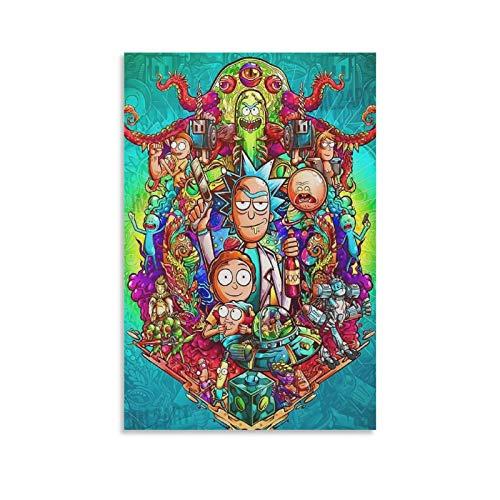 CHIYUE Trippy Art Rick And Morty Anime Posters Impresión sobre lienzo para habitación estética y decoración de dormitorio familiar 60 x 90 cm