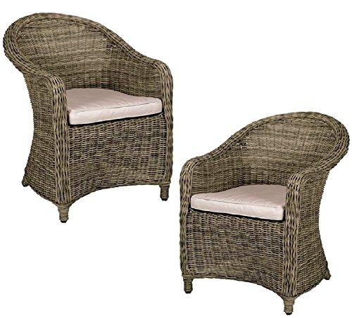 Ensemble de chaises d'extérieur en rotin marron - De jardin, fête, balcon - Lot de 2