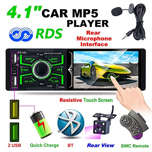 1DIN Bluetooth autoradio met 1080P touchscreen, MP5-speler, FM/AM/RDS radio, IR-achteruitrijcamera, ondersteunt USB/TF/AUX-ingang, infrarood afstandsbediening + microfoon
