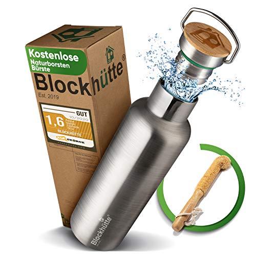 Blockhütte® Premium Edelstahl Trinkflasche isoliert mit [GRATIS Bürste] - Die Innovative Isolierflasche ist auslaufsicher. - Die Edelstahl Trinkflasche ist für Kinder & Erwachsene (750 ml)