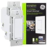 GE Enbrighten White Z-Wave Plus Smart Dimmer, Full Dimming, in-Wall Paddles, Repeater/Range Extender, Zwave Hub Required, Works with Ring, SmartThings, Wink, Alexa, 2-Pack, 54558, 2 Pack, 2 Count
