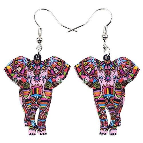 Lindo Animal Grande Largo acrílico acrílico Colgante Elefante Selva a Cuadros niña Colgante joyería Rojo