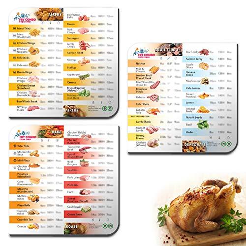 Paquete de 3 hojas magnéticas para freír y olla a presión Combo incluyendo olla instantánea y Ninja Foodi, freír aire, asar, deshidratar, hornear y asar con 72 alimentos