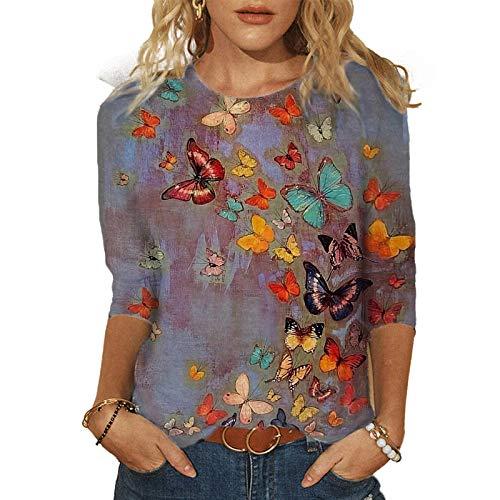 LAIYIFA Camisetas para mujer con estampado paisajístico, casual, cuello redondo, blusa de manga larga,...