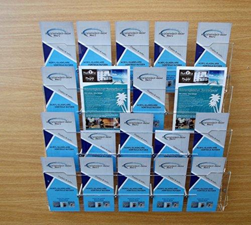 Flyer,Prospekt Wandhalter mit frei wählbarer Facheinteilung,Prospekthalter 20 Fach