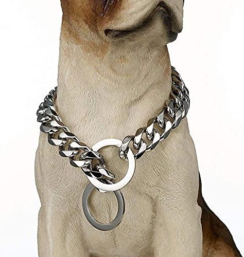 wuquansy Collar De Cadena De Choke De Perros De Metal De 15 Mm, Collar De Entrenamiento De Acero Inoxidable 316l De Acero Inoxidable para Perros Pequeños, Medianos Y Grandes(Size:26in,Color:Plata)