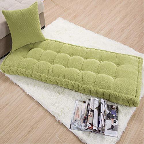 tonywu Garden Bench Cushion Cojín de Asiento de 2 plazas para Banco de Comedor Uso en Interiores y Exteriores Cómodo 100% algodón Cojín Grueso Estilo Moderno con mechones 75x75cm Verde-2