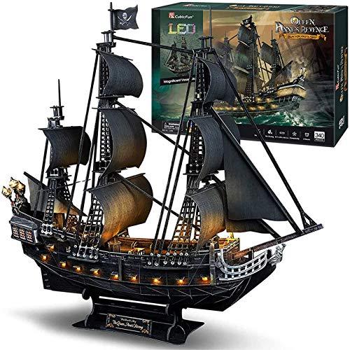 3D Puzzles Piratenschiff und Segelboot Schiff Black Pearl Sehr schwieriges Modell Kit Schiff, DIY Puzzles Queen Anne's Revenge Puzzles, Uilding 3-D Puzzles Geschenke für Erwachsene und Kinder, 340 S