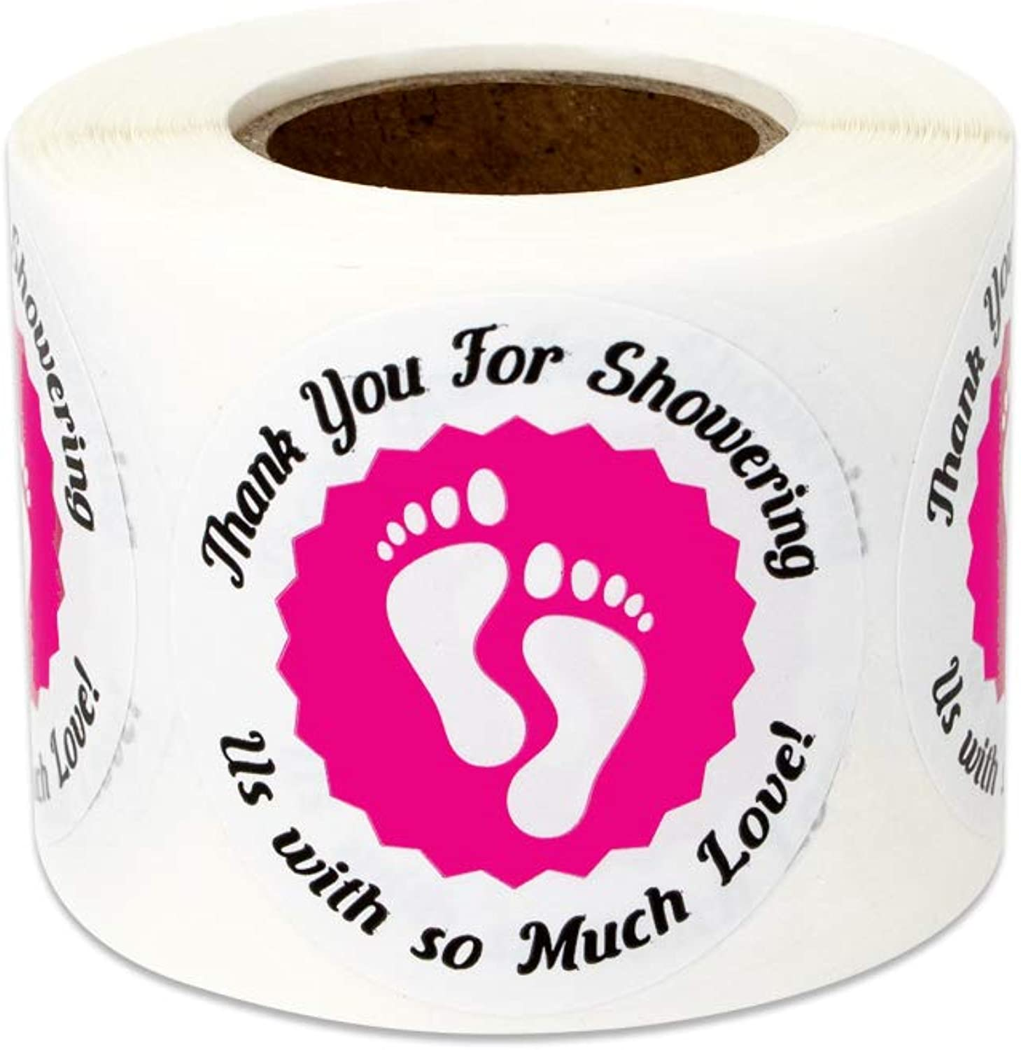 600 Labels - Baby Shower Stickers for Thank You Appreciation Babies Gender Reveal (1.5 Inch Pink - 2 Rolls)