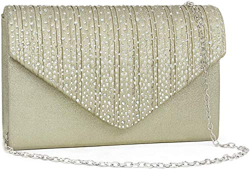 Milisente Evening Bag for Women, Glitter Rhinestone Wedding Evening Purse Crystal Envelope Crossbody Shoulder Clutch Bags(Leather Gold)