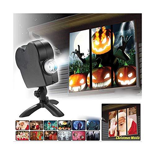 Halloween Holographic Projection - 1200000000 Filmprogramme Projektionslichter Weihnachten Halloween Geschenke Gartendekoration im Freien Verwandeln Sie Ihre Fenster in eine festliche Filmleinwand