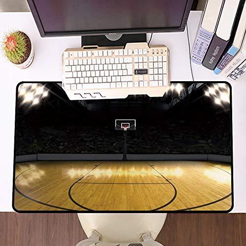 Übergroße Spiel Mauspad -Schreibtischunterlage Large Size,Teen Decor, Leeres Basketballarena-Gewinnspiel, Champion-Erfolgsthema gewinnen, Leichter Kaffee,und schnelle Maussteuerung,Gummiunterseite
