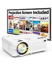 QKK Beamer ondersteunt 1080P Full HD, 5000 lumen mini projector met scherm, Native 720P HD video beamer compatibel met TV Stick game console Smartphone HDMI VGA AV USB, thuisbioscoop beamer wit, MEHRWEG