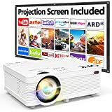 QKK AK-81 Projector With Projection Screen 1080P Full HD Supported, Mini Projector 5000 Lumen, HD Native 720P Video Projector Compatible with TV Stick Smartphone HDMI SD USB, Home Theater Projector.