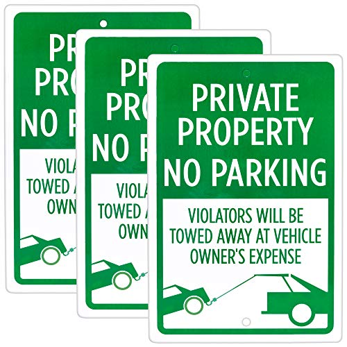 Private Property, No Parking 3-Pack | 18' x 12' Pre-Drilled Reflective Aluminum Warning Sign for Parking Lots, Home Driveways, Offices, Businesses | Outdoor Industrial Parking Security Fixture