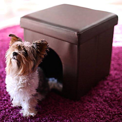 Relaxdays Maison pour petits chiens et chats pliable pliante banc en similicuir confortable Tabouret abri panier malle cube niche HxlxP : 38 x 38 x 38 cm repose-pieds couvercle amovible, brun