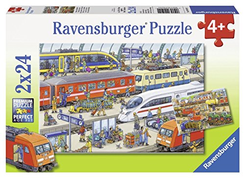 Ravensburger Kinderpuzzle 09191 - Trubel am Bahnhof - 2 x 24 Teile