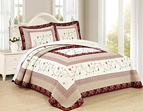 All American Collection New 6pc Georgia Embroidered Bedspread/Quilt Set (King 3pc)