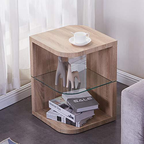 GOLDFAN Moderna Rectangular Pequeña Mesa de Centro Mesa Auxiliar con Capa de Vidrio en el Medio para Oficina Sala de Estar Dormitorio, Marrón Claro