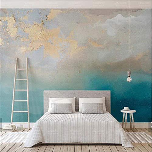 kdbshfm Abstrakte Tapete Blau Meer Gold Wandbilder HD Fototapeten Handgemalte Home Wandkunst Aufkleber Dekor Wandbild Leinwanddrucke 3D-450x300cm