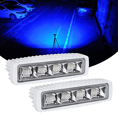 Exzeit Waterproof Led Boat Lights, Blue Light,2 pc 72W 100% Waterproof Test Deck/Dock Marine Lights 4000LMS 120Flood Light, 6.3inch, 12/24 V Led Light Bar (Blue Light)