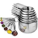 Juego de 17 tazas y cucharas medidoras de acero inoxidable – 7 vasos nidos y 7 cucharas apilables – Kit de medición profesional portátil de cocina duradero