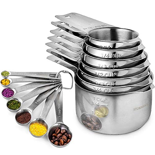 Stainless Steel Measuring Cups and Spoons Set of 17 Pieces - 7 Nesting Cups and 7 Stackable Spoons - Durable Professional Portable Kitchen Measuring Kit for Liquid Wet and Dry Ingredients