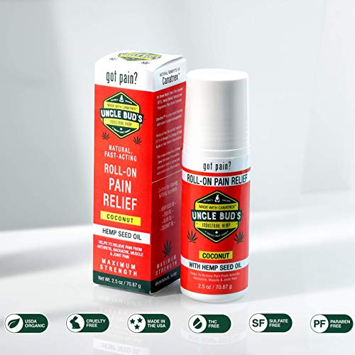 Uncle Bud's Topical Roll On Pain Reliever, Hemp Oil for Pain Reduction, Stress Support, Achy...