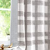 Central Park White Tan Plaid Blackout Window Curtain Linen Buffalo Check Geometric Panel 84' Long for Bedroom Living Room Grommets Top Rustic Farmhouse Room Darkening Thermal Insulated Drape, 1 Pc