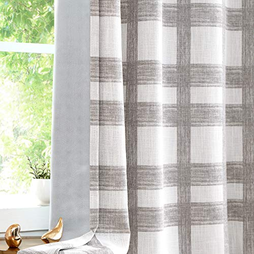 """Central Park White Tan Plaid Blackout Window Curtain Linen Buffalo Check Geometric Panel 84"""" Long for Bedroom Living Room Grommets Top Rustic Farmhouse Room Darkening Thermal Insulated Drape, 1 Pc"""