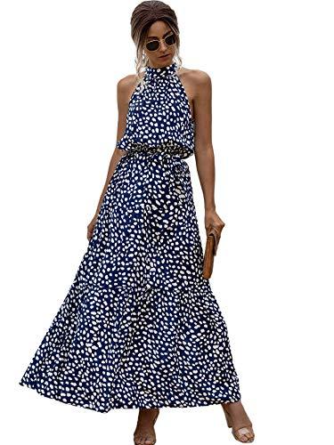 Floerns Women's Sleeveless Halter Neck Vintage Floral Print Maxi Dress Blue White M