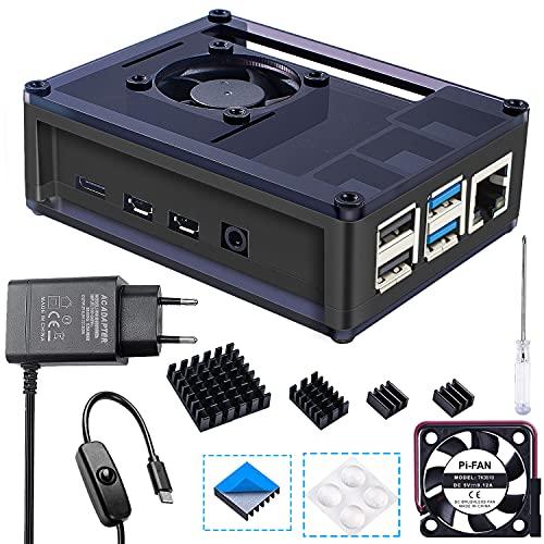 Bruphny Case per Raspberry Pi 4 con 35mm Ventola di Raffreddamento, 5V 3A USB-C Alimentatore, 4
