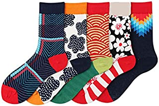 Medium Tube Cotton Socks Irregular pattern trendCotton Pattern Novelty Socks For Womens 5 pairs