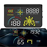 BNTTEAM Upgrade Car Universal Navigation Version HUD HD Screen Head Up Display OBD II/GPS Dual System Support Google Map, OverSpeed Warning Timer Compass Engine RPM,Mileage, etc (Q10)