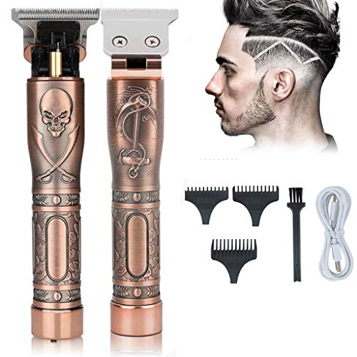Haarschneidemaschine für Männer, professioneller kabelloser Bartschneider, wiederaufladbarer kabelloser Haarschneider mit Totenkopf-T-Klingen-Haarschneider
