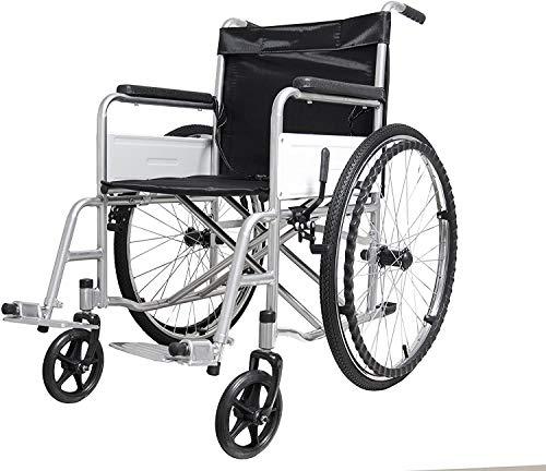 Sedia a Rotelle Pieghevole Leggera ad Autospinta, Carrozzina per Disabili ed Anziani con Braccioli e Poggiapiedi Estraibili, Cintura di Sicurezza, 85 x 69 x 91 cm Colore Nero e Argento
