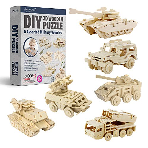Hands Craft DIY 3D Wooden Puzzle Bundle Set, Pack of 6 Miliatary Vehicles Brain Teaser Puzzles | Educational STEM Toy | Safe and Non-Toxic Easy Punch Out Premium Wood | (JP2B6)