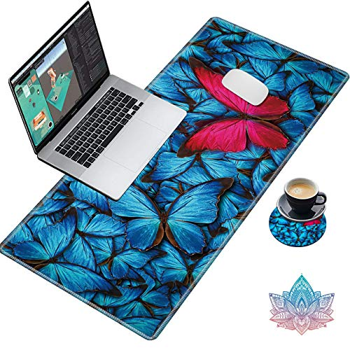 Sindgan Desk Pad, Gaming Large Mouse Pad XXL XL Extended Keyboard Mat with Stitched Edges Non Slip Base Computer Mat for Work & Gaming, Office & Home, with Cute Coasters Stickers, Blue Red Butterfly