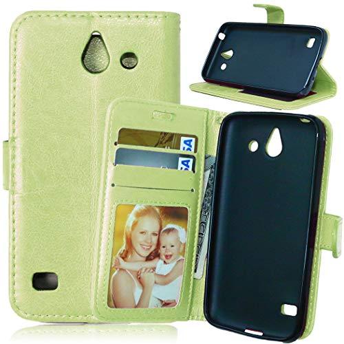 JEEXIA® Etui Schutzhülle Für Huawei Ascend Y550 (4.5zoll), Mode Geschäft PU Leder Lederhülle Flip Cover Brieftasche Innenschlitzen Mit Stand Function Design - Grün