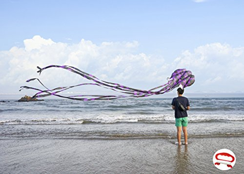 kizh Kite Octopus Large Frameless Soft Parafoil Kites for Kids and Adults Easy Flyer Kite for Beach Park Garden Playground 157 Inchs Long Perfect Outdoor Fun (Purple)