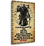 Canvas Motivational Quotes Wall Decor 'Keep Fighting' Inspirational Poster Viking Wall Art Prints Vintage Pictures Vertical Painting Home Office Decor Unframed 16x24 inch(40x60cm)