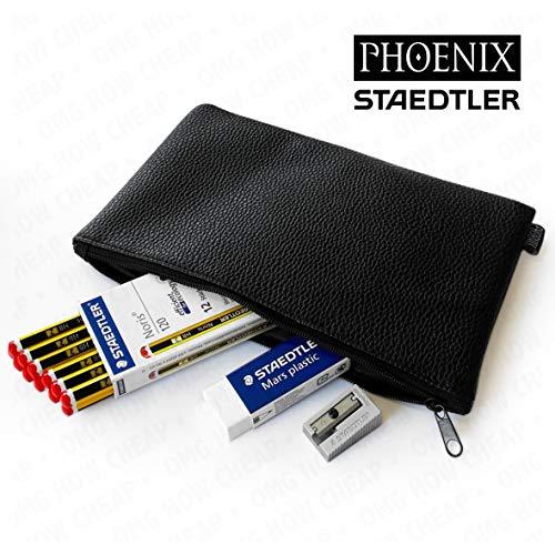 Staedtler Noris-120 matite HB, Mars-Gomma per cancellare & Phoenix-Temperamatite in metallo, in astuccio in pelle