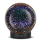 Glass Aromatherapy Essential Oil Diffuser 120ml Ultrasonic Cool Mist Aroma Oil Diffuser Whisper Quiet Humidifier with Time Setting for Home Office Yoga Spa (3D Firework)
