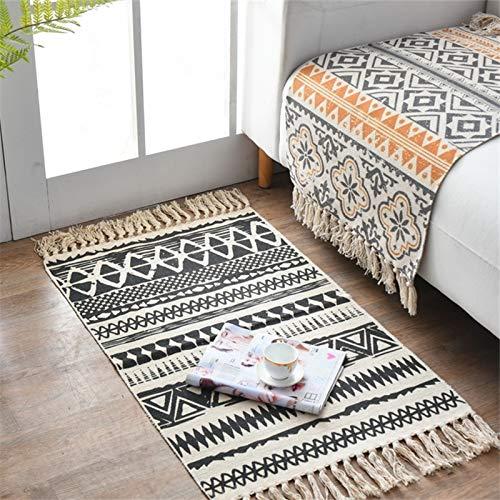 Alfombra de algodón tejida, alfombra para dormitorio geométrica con flecos, estilo bohemio, alfombra para salón, dormitorio, cocina, entrada interior, lavable a máquina, 60 x 90 cm (tipo A)