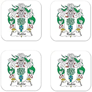 Rubio Family Crest Square Coasters Coat of Arms Coasters - Set of 4