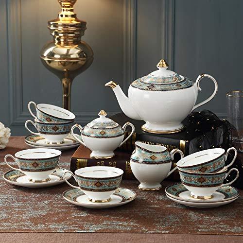 Yqs Porcelain Tea Sets 15 piece ceramic European coffee cup set high-end gift living room home English afternoon tea tea set black tea teapot (Color : 15PC)